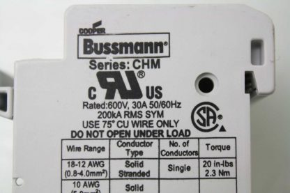 3 Cooper Bussmann CHM 10X38 3 Pole Compact Circuit Protectors 600V 30A Used 172200204173 10