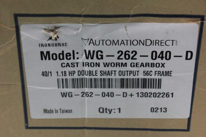 Automation Direct WG 262 040 D Iron Horse Worm Gearbox 401 Ratio Nema 56C New other see details 172702644721 16