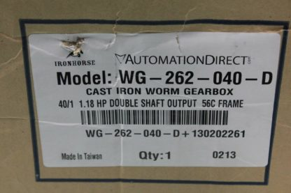Automation Direct WG 262 040 D Iron Horse Worm Gearbox 401 Ratio Nema 56C New other see details 172702644721 2
