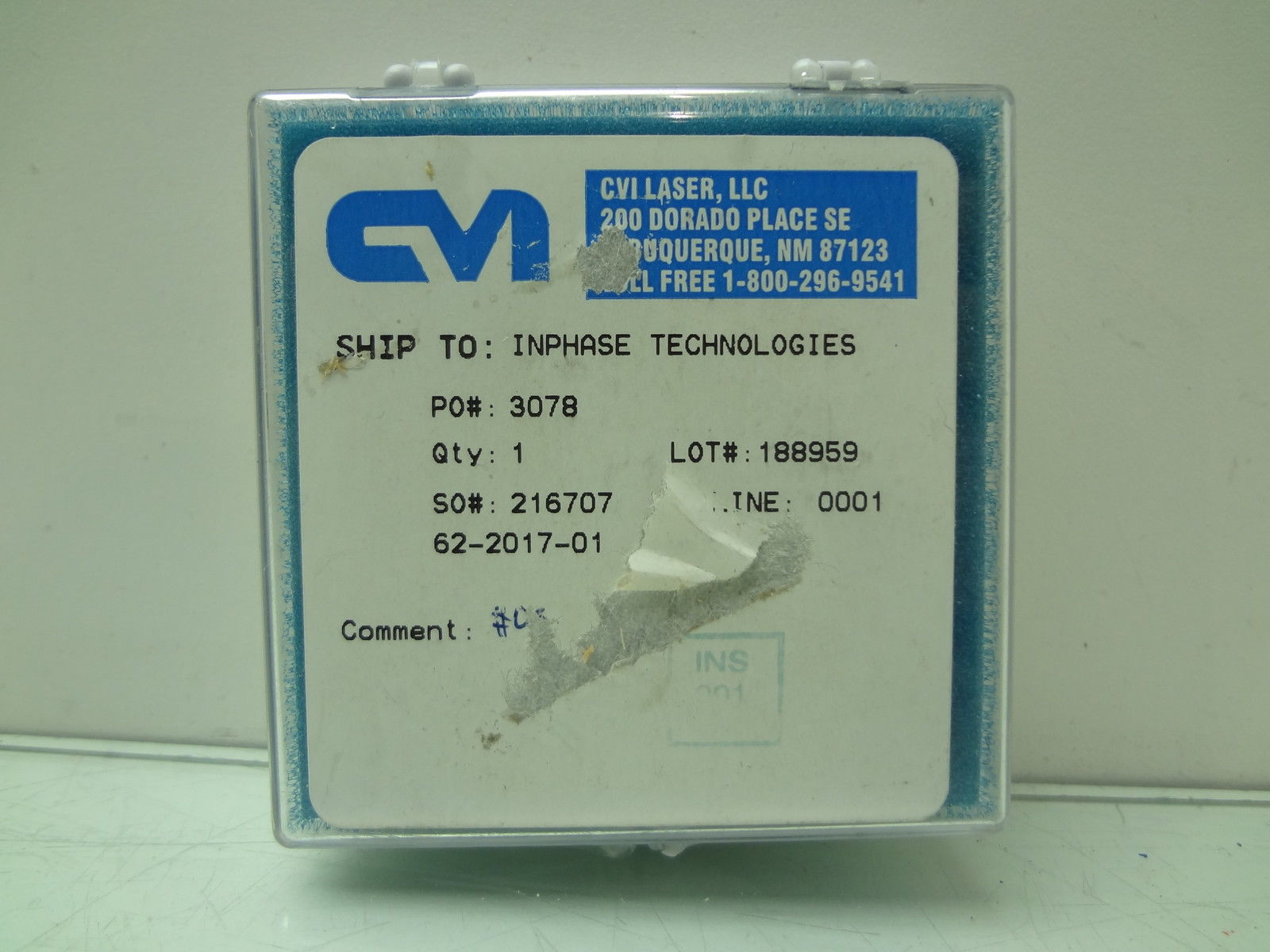 CVI Laser Optics 62-2017-01 Clear Optical Window - New other (see details)