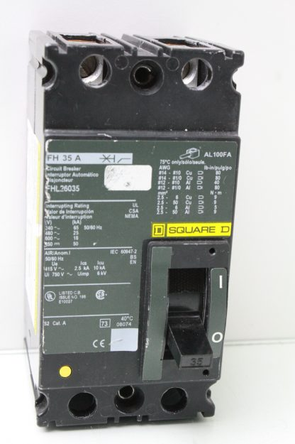 Square D FH 35 A FHL26035 Circuit Breaker 35 Amp 2 Pole DIN Rail Mount Used 172121795041 2