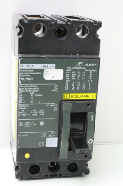 Square D FH 35 A FHL26035 Circuit Breaker 35 Amp 2 Pole DIN Rail Mount Used 172121795041