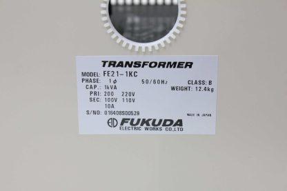 Fukuda FE21 1KC Transformer 1 kVA 1 Ph 200 220V Primary 100 110V Secondary 10A Used 172558333912 16