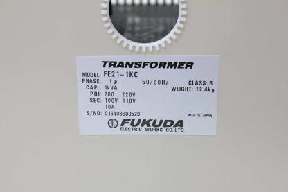 Fukuda FE21 1KC Transformer 1 kVA 1 Ph 200 220V Primary 100 110V Secondary 10A Used 172558333912 2