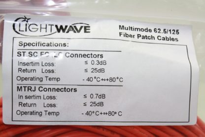Light Wave 30 Meter Multimode 625125 Fiber Optic Patch Cable 791414241030M New 172121795052 4