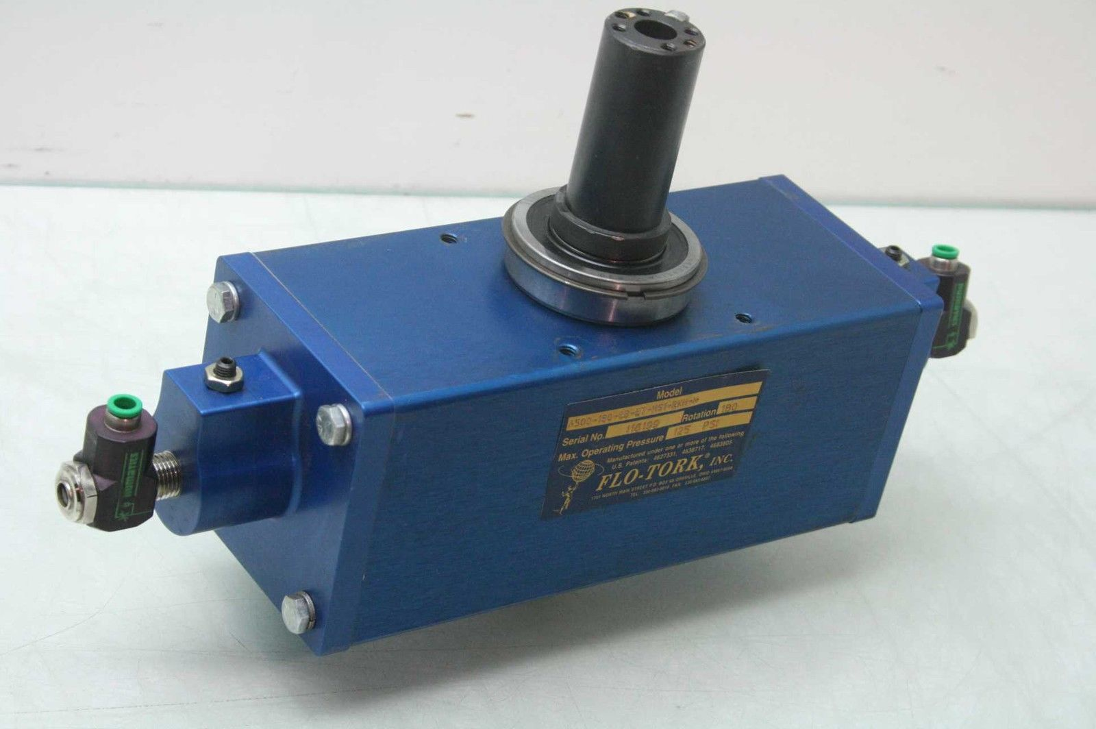 Moog Flo-Tork A500-180-CB-ET-MS1-RKH-N Rotary Air Actuator 500 in-lb 180  Degree - Used