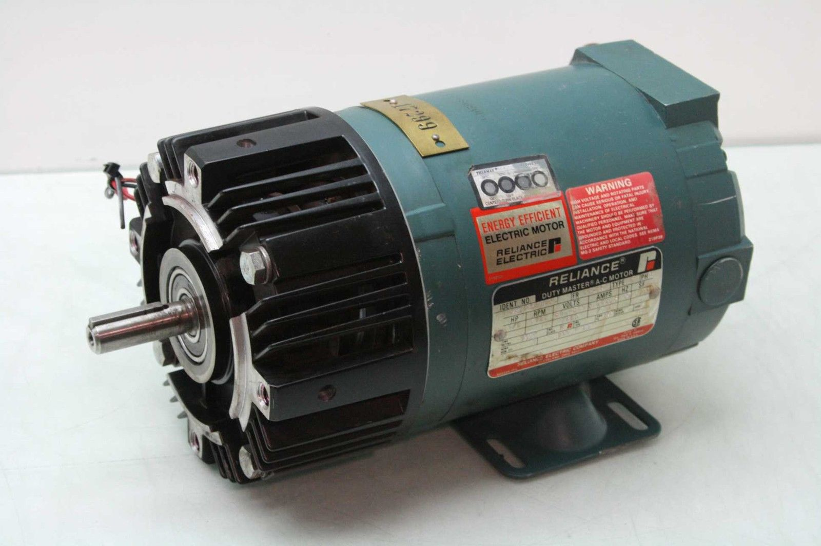 Reliance P56H1320W-NS AC Motor 1/2 HP Warner EM50-20 Clutch/Brake Nema 56C  Frame - Used