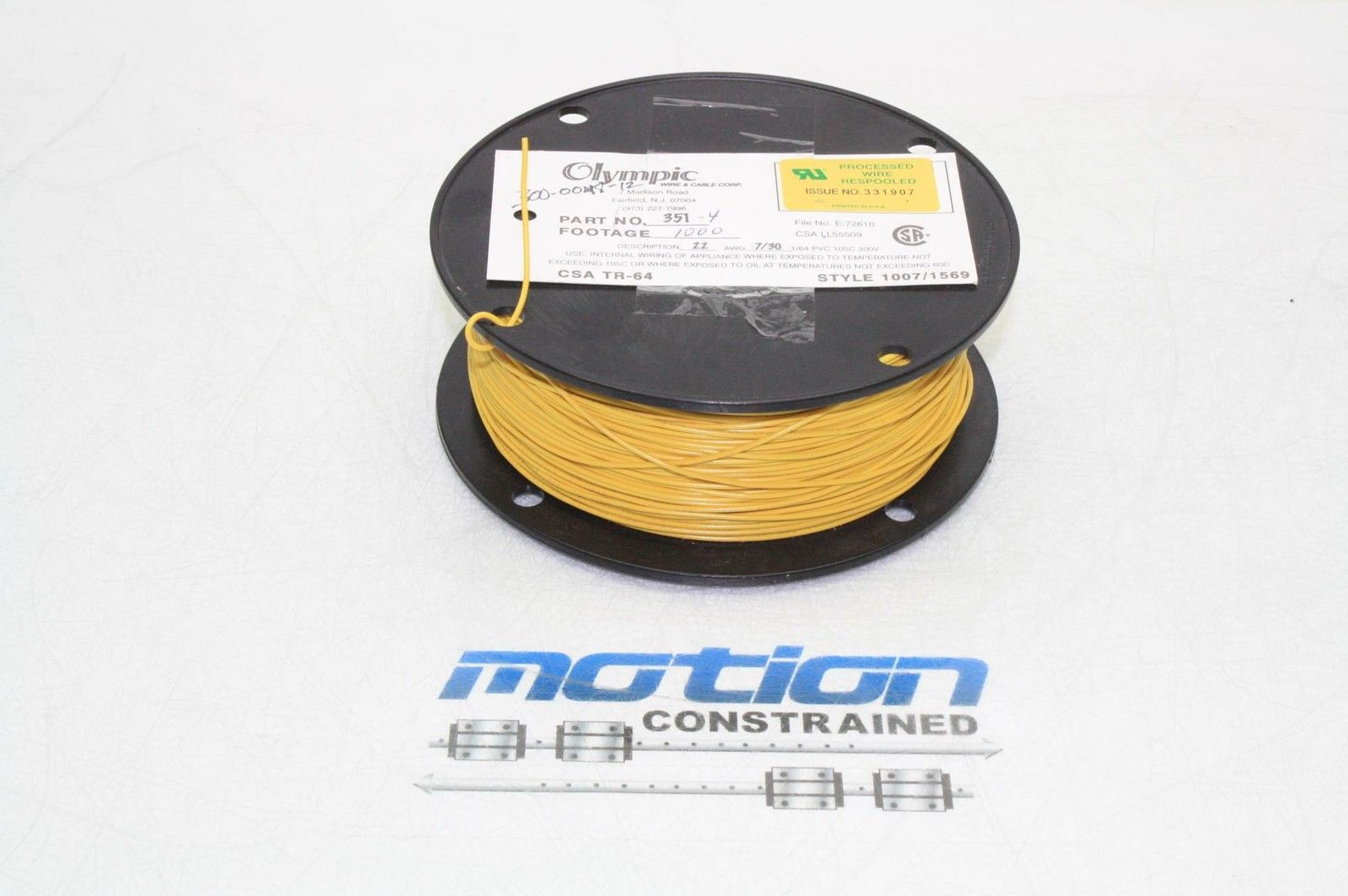800 ft Spool Olympic Wire & Cable 22 AWG PVC Insulated Wire 105C Yellow Insulated Wiring on