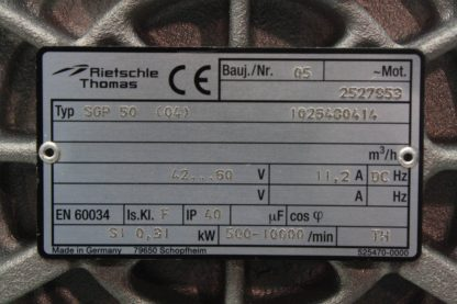 Rietschle Thomas SGP 50 04 Blower Vacuum Pump Papst 42 60V DC Drive Motor Used 171504021641 3