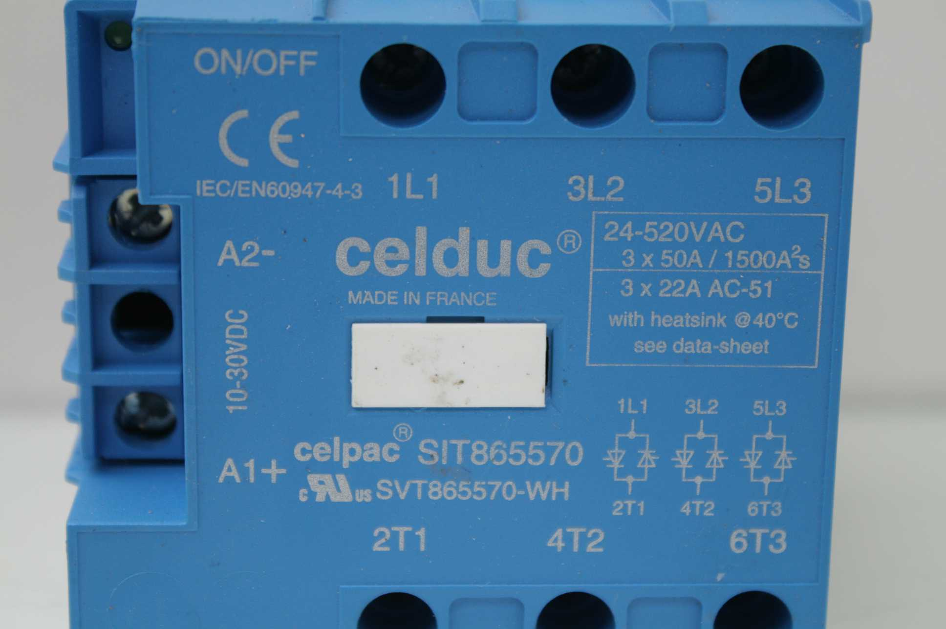 Celduc SIT865570 Three Phase Solid State Contractor 10-30V DC Input - Used