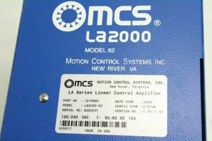 MCS LA2000 62 Model 62 Linear Control Amplifier for High Speed Spindle Used 172706828205 5