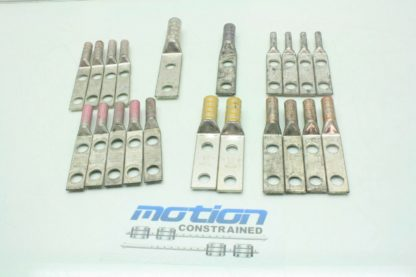 21 Assorted Double Hole Crimp Copper Compression Terminal Lugs 2 AWG to 40 Used 171426886797