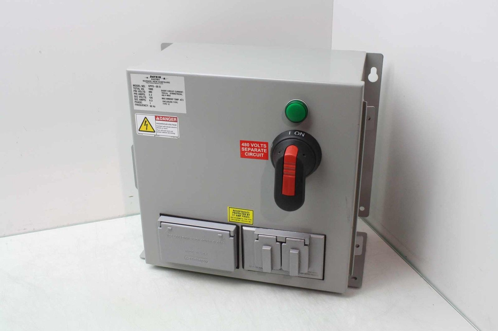 Daykin GPFS-05 Transformer w/ Disconnect Switch in Enclosure 480V to on