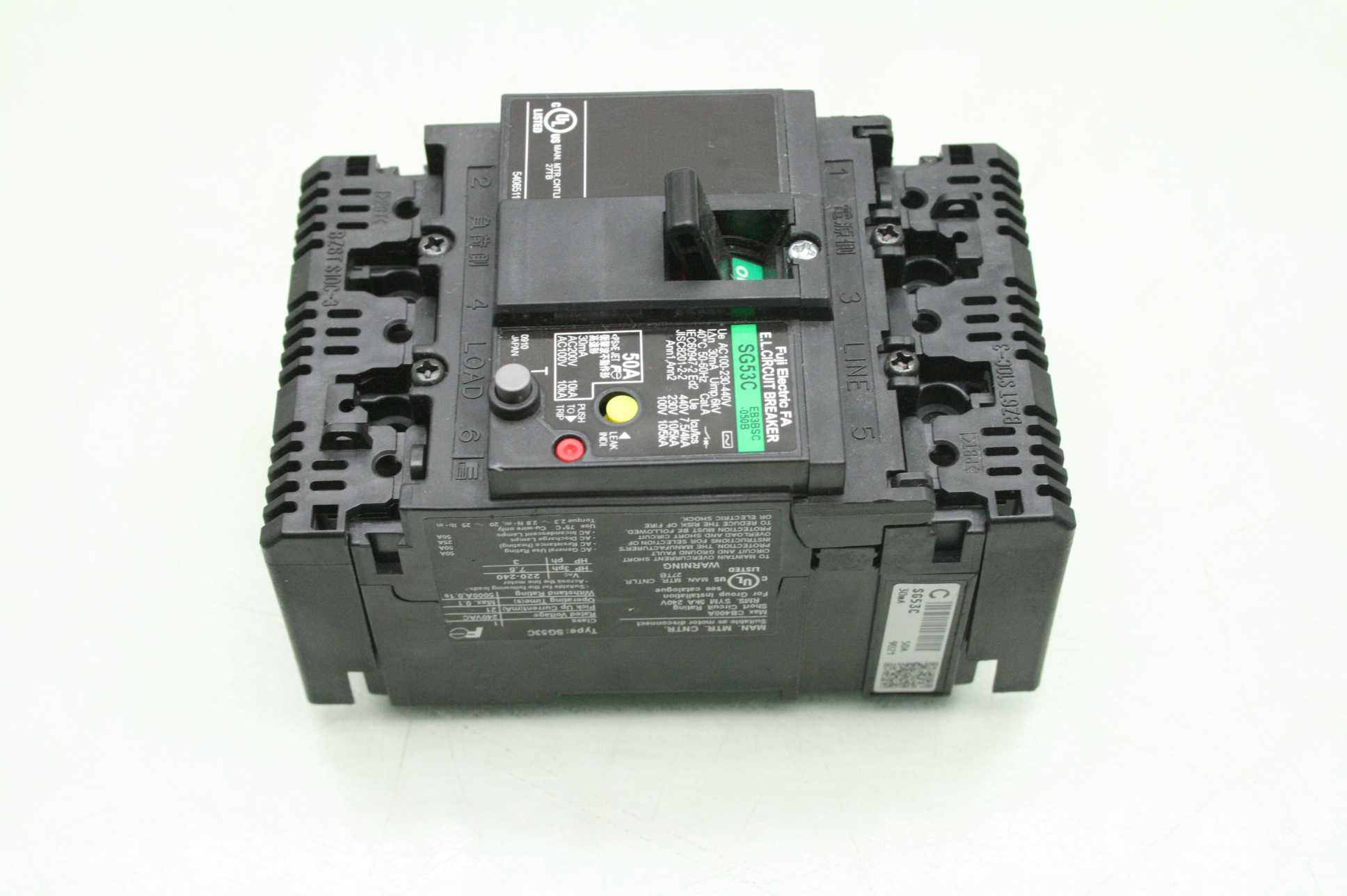 Fuji Electric SG53C-EB3BSC-050B Circuit Breaker 50A to 440V AC 3 Pole - Used