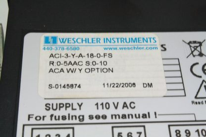 Weschler Instruments Rate Panel Meter ACI 3 Y A 18 0 FS Used 172124059017 3