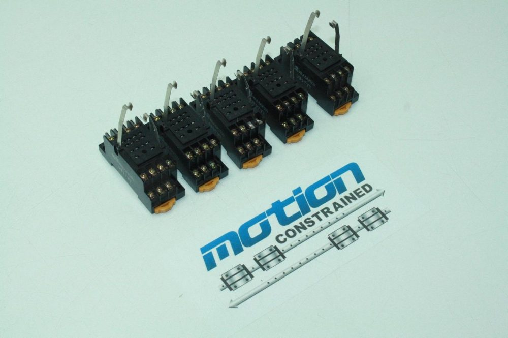 5 Omron Pyf14a Ice Cube Relay Sockets    Din Rail Mounting