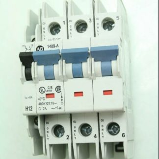 Allen Bradley 1489 A3C020 Circuit Breaker 3 Pole 2A with 1489 ABH12 Contact Used 181840954928