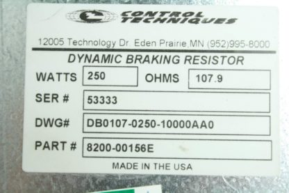 Control Techniques DB0107 0250 10000AA0 250W 108 Ohm Dynamic Breaking Resistor Used 171885243119 3