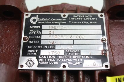 Ex Cell O Corporation MHU20 2 Right Angle Worm Gear Reducer 201 Ratio Nema 56C New other see details 172053416369 7
