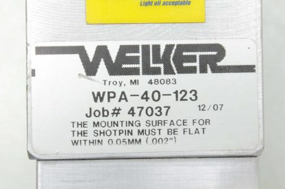 Welker WPA 40 123 Pneumatic Shot Pin Clamp Assembly 123mm Travel 40mm Bore Used 172644653139 18